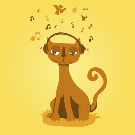 Vector funny cat listens to music Vector