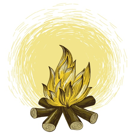 Vector bonfire in engraving style - abstract graphic