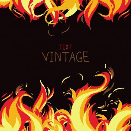 Marco del vector hecha de fuego - fondo abstracto