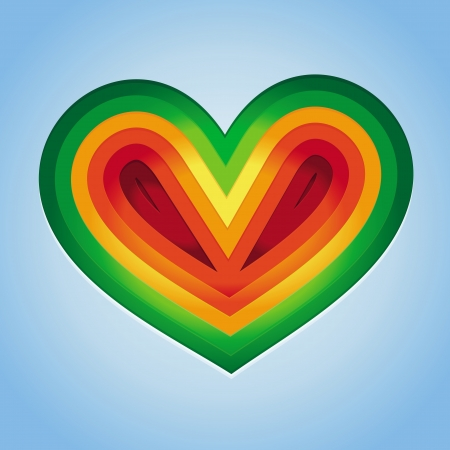 Vector heart shape made from paper - abstract rainbow background Stock Vector - 19255090