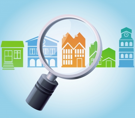 home search: Vector concept - magnifying glass and home icons