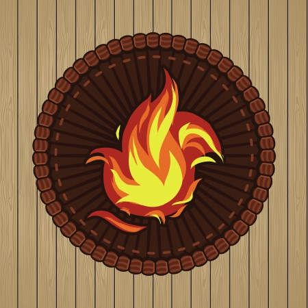 gas flame: Vector round badge with fire icon - in retro style Illustration