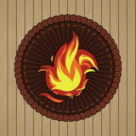 Vector rundes Abzeichen mit Feuer icon - im Retro-Stil
