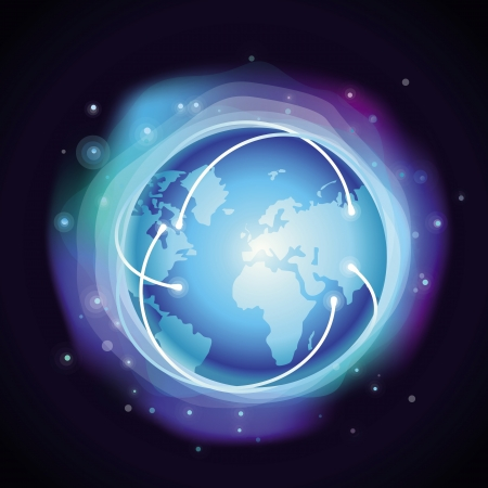 Vector internet concept - glowing globe - abstract background in blue color Vector