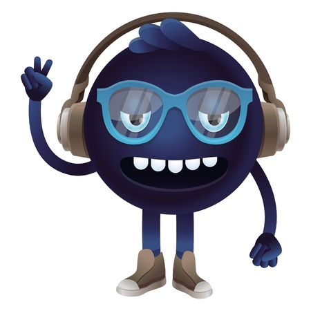 freak: funny monster with headphones and glasses - hipster character Illustration