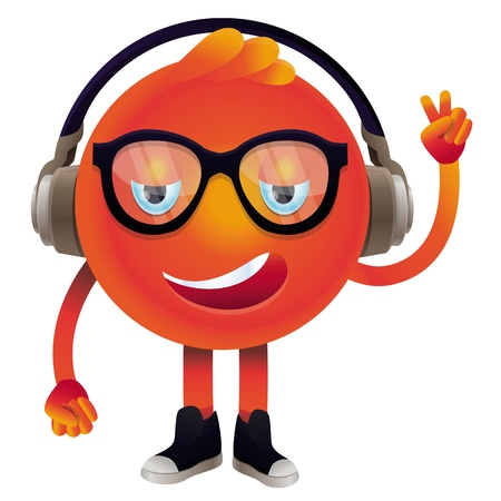 earphones: funny monster with headphones and glasses - hipster character Illustration
