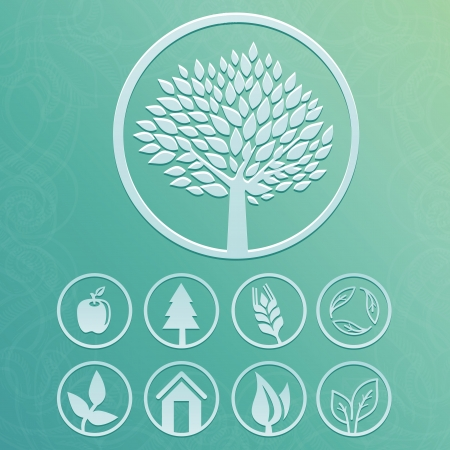 round labels with tree and nature icons - set with ecology signs and symbols Stock Vector - 19375097