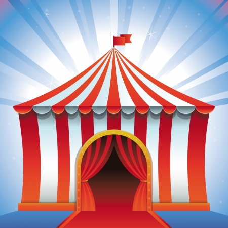 entrance: circus tent - bright icon - entertainment concept