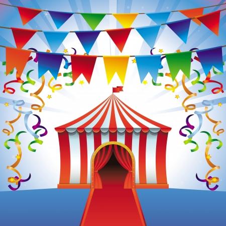 fondo de circo: carpa de circo - icono brillante - party concepto y entretenimiento Vectores