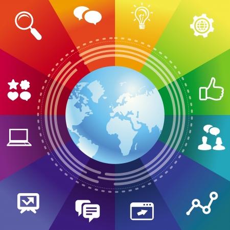 ic�ne logiciel: Vecteur internet concept avec un fond arc en ciel et ic�nes des m�dias sociaux