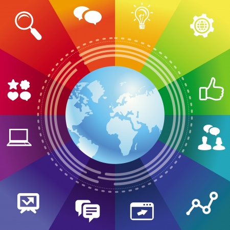 Vector internet concept with rainbow background and social media icons Stock Vector - 19413260