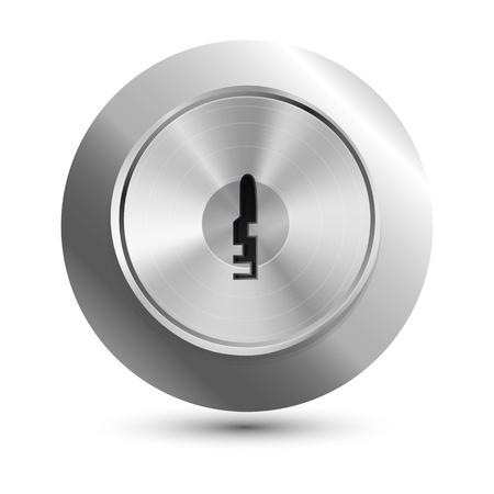 door lock: Vector keyhole in round lock - safety concept