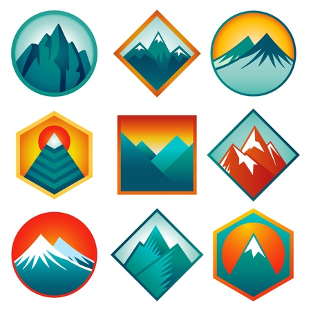 Vector set with abstract logos and icons - mountains and summits in blue color Vector