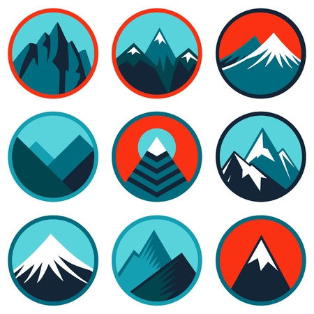 conquest: Vector set with abstract logos and icons - mountains and summits in blue color