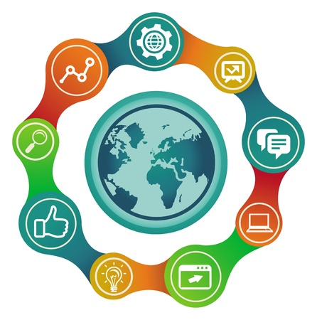 Vector internet concept with globe and social media icons