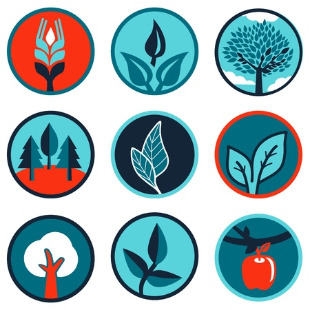 ecology emblem: Vector set of emblems and signs with leaves and trees
