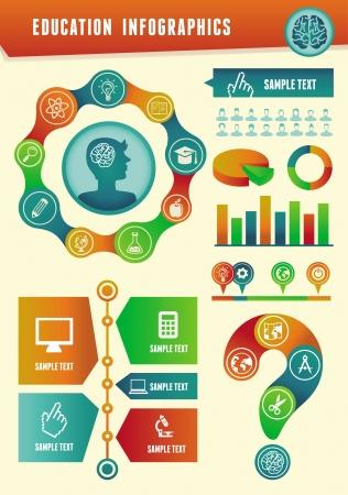 analytic: Educaci�n infograf�a vector con elementos de dise�o y los iconos