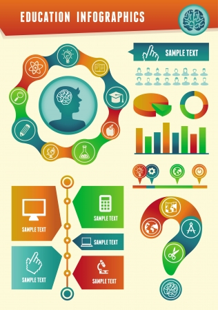 cognition: Vector education infographics with design elements and icons