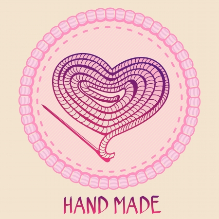 sew tags: Vector hand made emblem - thread and needle in shape of heart - made with love Illustration