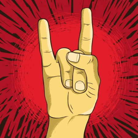 drawn metal: Vector rock n roll symbol - human hand - gesture