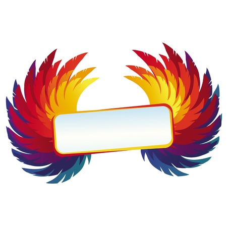 Vector wings with bright frame - rainbow template with copy space for text Vector