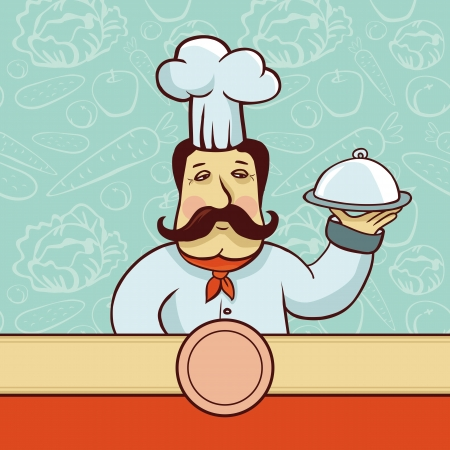 cartoon character - chef cook with plate and ribbon for copy space Vector