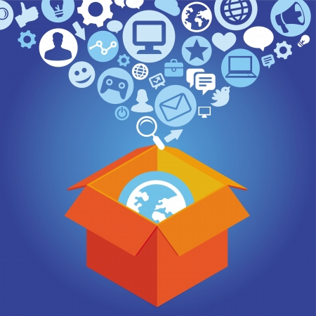 network marketing: concepto de compras de internet - caja de entrega con iconos de redes sociales Vectores