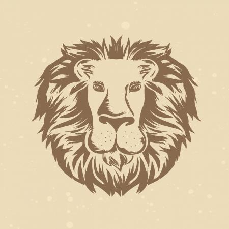 leones: cabeza de le�n en el estilo de grabado - ilustraci�n de la vendimia