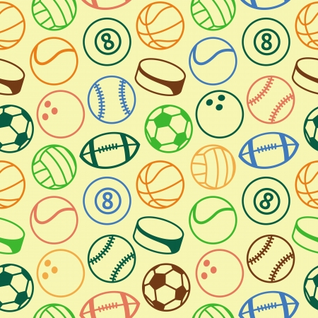 seamless pattern with sport balls - abstract background Vector