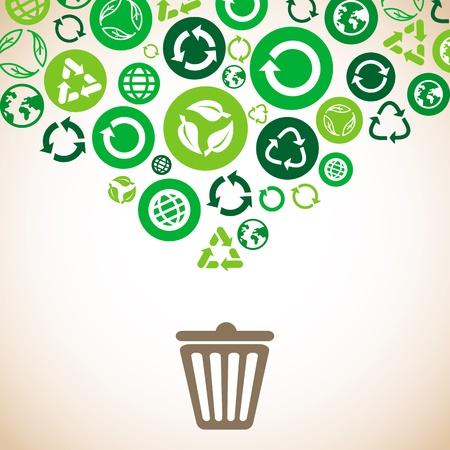 afvalbak: ecologisch concept met recycle tekens en symbolen in groene kleur Stock Illustratie