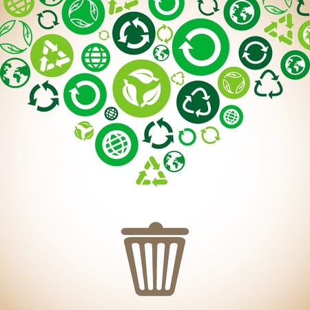 recycle bin: ecology concept with recycle signs and symbols in green color