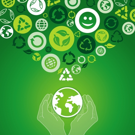 ecology concept - human hands holding globe with recycle signs and symbols Stock Vector - 19626676