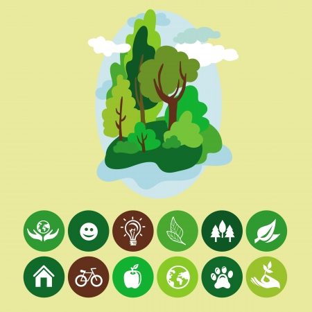 ecology concept - cartoon landscape and nature signs Vector