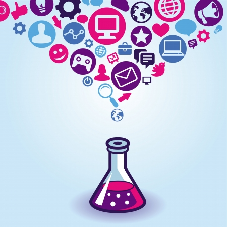 internet marketing concept - teken en iconen
