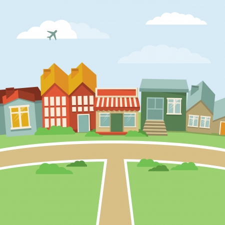 airplane cartoon: cartoon town - abstract landscape with houses in retro style Illustration