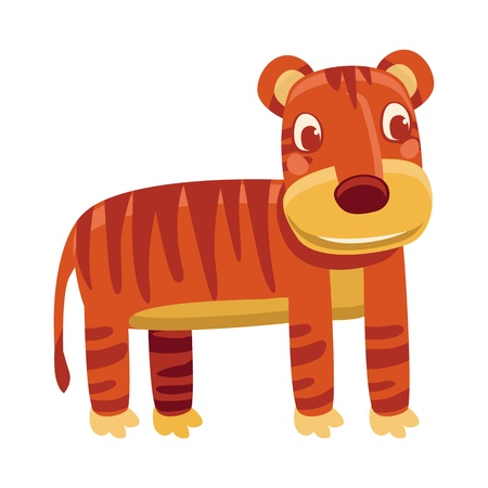 cartoon tiger - funny character on white background Stock Vector - 19626688