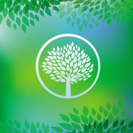 ecologie concept - boom embleem in ronde frame op groene achtergrond Vector Illustratie