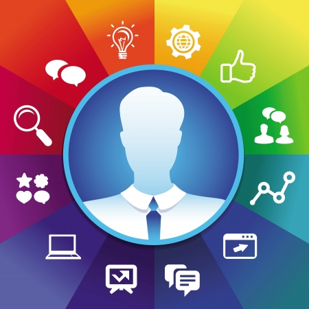 businessman avatar in circle frame and social media icons - internet marketing concept
