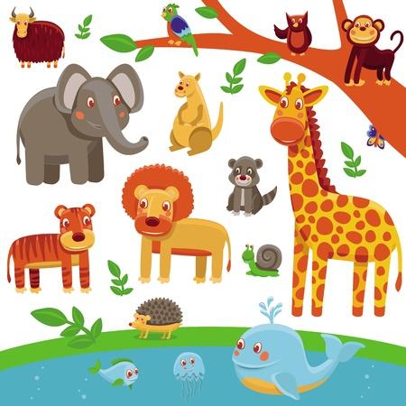 illustration zoo: set di animali cartone animato - personaggi divertenti e simpatici - tigre, leone, giraffa, elefante, procione Vettoriali