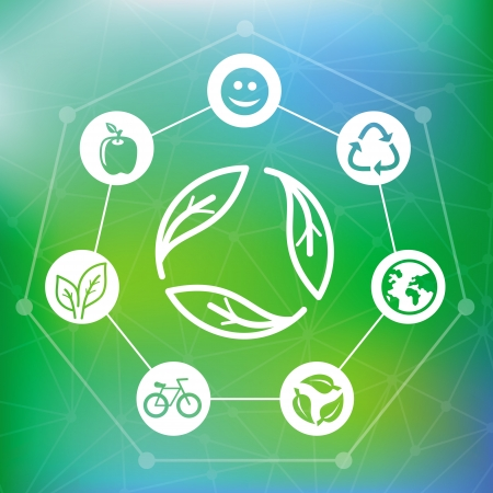 ecology concept with recycle emblem - abstract green background Vector