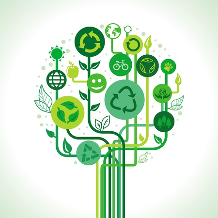 ecology concept - abstract green tree with recycle signs and symbols Vector