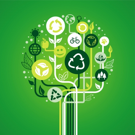 ecology concept - abstract green tree with recycle signs and symbols Stock Vector - 19626714