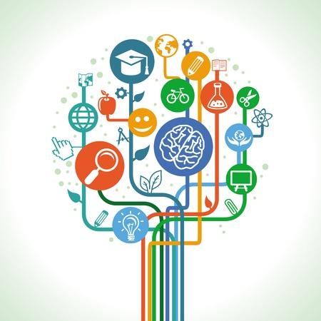la educación y el concepto de la ciencia - Árbol abstracto con iconos y signos