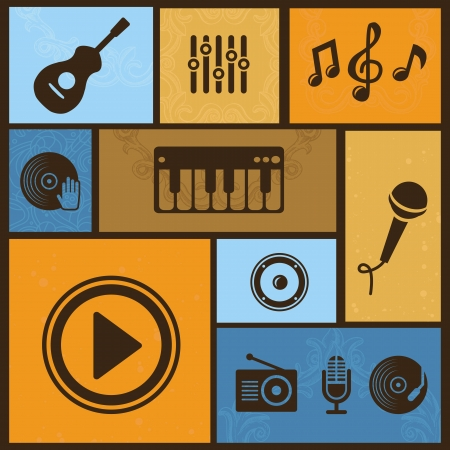 Vector design element with musical icons and signs in vintage style Vector