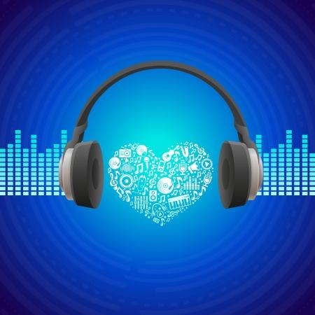 microfono de radio: Música del vector concepto - resumen de antecedentes con los auriculares icono Vectores