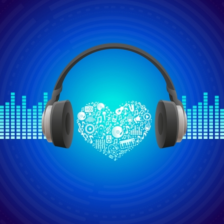 headphones icon: Vector music concept - abstract background with headphones icon Illustration