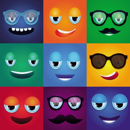 happy face: Set with cartoon funny monsters - square faces in bright colors Illustration