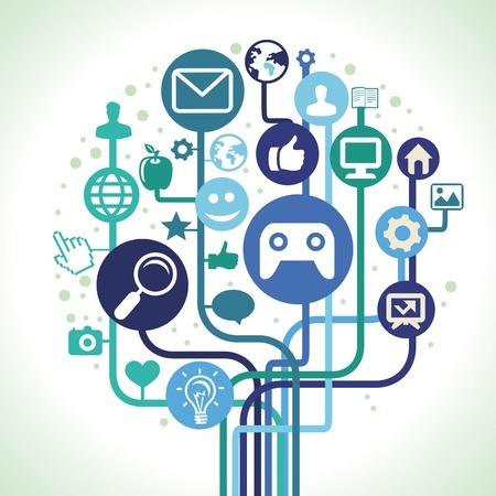 internet concept - social media icons Stock Vector - 20101492