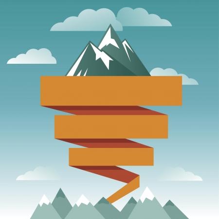 山のアイコンとテキストのリボンでレトロなデザイン テンプレート  イラスト・ベクター素材