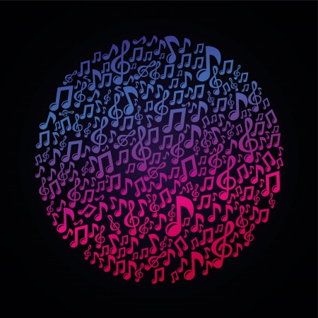 audio mixer:  music concept - musical notes - abstract background